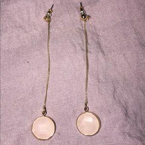 Gold/rose quartz earrings